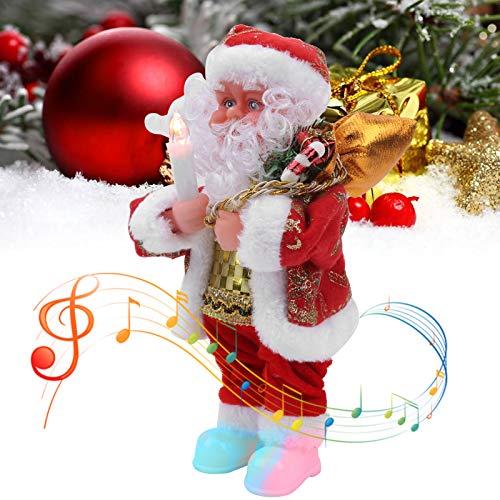 【ó 】Papá Noel eléctrico, decoración navideña Música Papá Noel Muñeca Papá Noel...