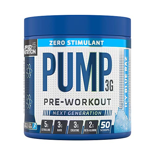 Applied Nutrition Pump 3G Zero Stimulant Pre Workout, Performance with Creatine Monohydrate, AAKG, Citrulline, Beta Alanine, Theanine, Vitamin B Gold Complex, 375g Standard, 50 Servings (Icy Blue Raz)