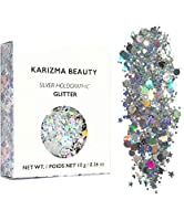 ✮ KARIZMA: Sparkle season is here. Take it to the next level with our Silver Holographic chunky glitter featuring little stars, dust and hexagons for an irresistible glow. Our cosmetic glitters are made with designer formulas, high intensity pigment ...