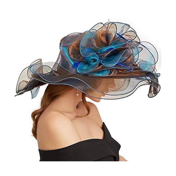 F FADVES Women Oganza Sun Hat Church Kentucky Derby Wide Brim Wedding Formal Fascinator Hat