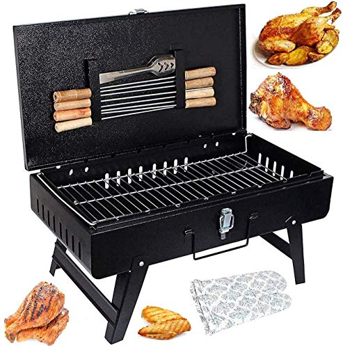 MAZORIA Big Size Barbeque Grill Set Charcoal Briefcase Tandoor for Home & Outdoor with 8 Skewers, 1 Grill, 1 Glove, 1 Tong & 1 Butter Brush
