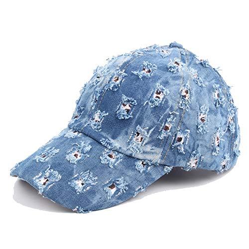 L.J.J Gorra de béisbol para exteriores, moda otoño, estilo vintage, para hombre, mezclilla desgastada, para hacer agujeros antiguos Azul azul 56-60 cm