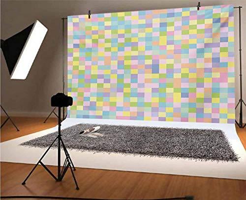 Fondos de vinilo pastel de 20 x 10 pies, colores cuadrados patrón mosaico a cuadros moteado cuadrícula cubical azulejo imprimir fondo para niños baby shower Photo Studio Prop Photobooth Photoshoot