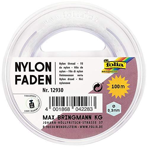 folia 12930 – Filo di nylon su bobina, trasparente, circa 0,3 mm x 100 m, portata 2,5 kg, filo invisibile ideale per mobili, gioielli, decorazioni, ecc.