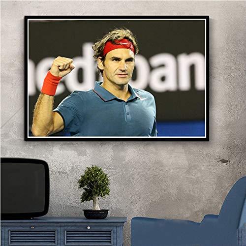 UIOLK Astratto colorato Superstar Sportivo Roger Federer (Roger Federer) Giocatore di Tennis Poster e Stampe Wall Art Decorazione della Parete Camera da Letto Home Office
