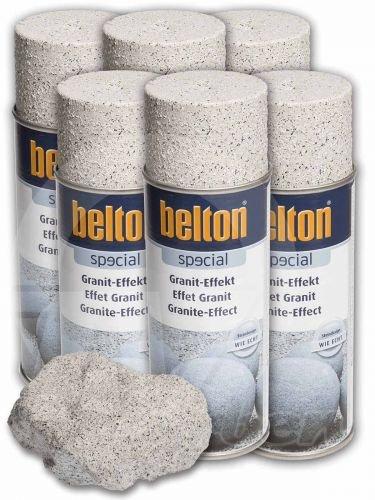 6 x Belton Granit-Effekt-Spray sandstein (Lackspray, Granitoptik)