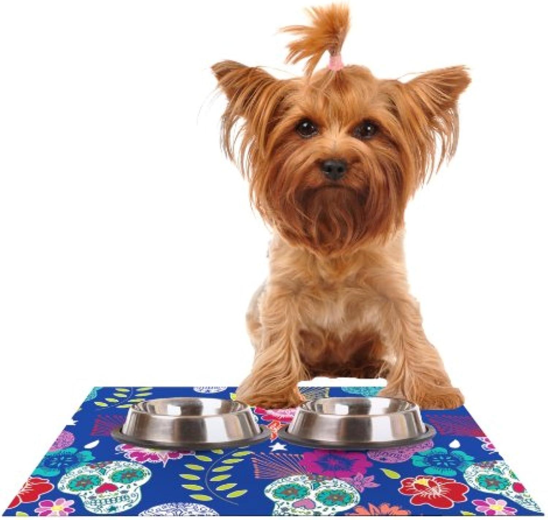 Kess InHouse Anneline Sophia Day of The Dead  bluee Aztec Feeding Mat for Pet Bowl, 18 by 13
