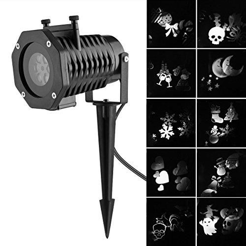 Projecteur de jardin Lumière LED Paysage Projecteur Effet de lampe avec 10 diapositives remplaçables pour Noël, Anniversaire, Halloween, Fête, désherbage, jardin