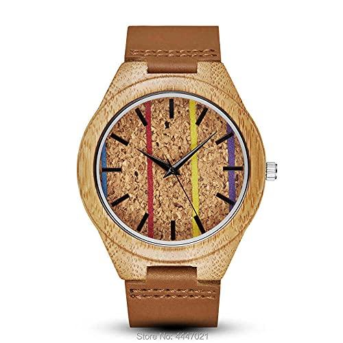 UIOXAIE Reloj de Madera Reloj de bambú de Madera Colorido para Hombres y Mujeres, Correa de Cuero, Reloj de Madera de Cuarzo Ligero, Reloj, Relojes, Regalos