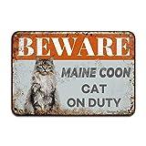 Beware Maine Coon Cat On Duty Eisen Poster Malerei