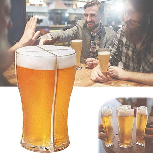 Winter Gafas de Cerveza Super Schooner, transportan fácilmente 4 en 1 Cerveza de acrílico Creativo Tazas, para Amigos Fiesta de Vacaciones Bebida de Navidad Bebida (Size : Large)