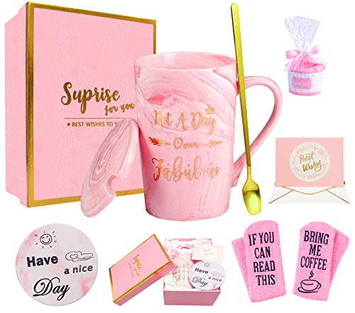 Birthday Gifts for Women- Not A Day Over Fabulous Mug- Thank You Gifts For Women- Funny Pink Gift Set Ideas for Her,Friends, Wife, Mom, Daughter, Sister, Ceramic Marble Coffee Tea Mug 14 Oz