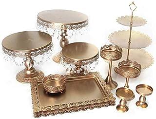 Kaibrite Lot de 12 présentoirs à gâteaux 3 étages avec Support Rond en Cristal pour Biscuits ou Fruits