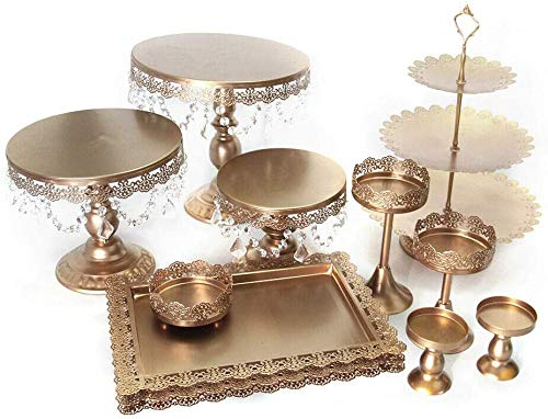 Wangkangyi Rund Tortenständer Kristall Kuchenteller Tortenplatte Kuchenplatte Tortenständer Vintage Kristall Party Kuchenteller (Golden, 12 PCS)