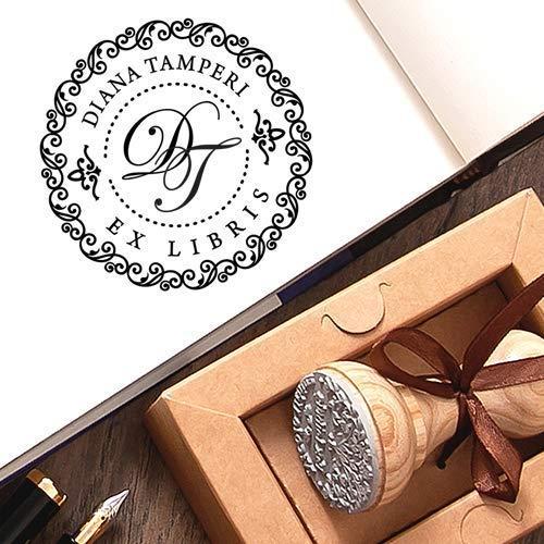 Stempel Initialen 2 Buchstaben Personalisiert, Ex libris Stempel Individuell, Kundenspezifische Monogramm Stempel, Einzigartige Kraft Geschenkbox