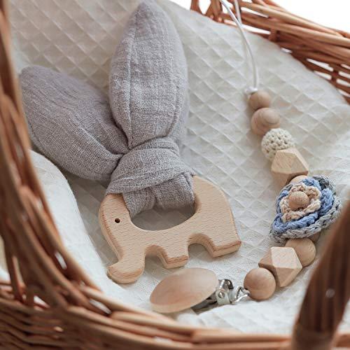 Mamimami Home Kaninchen Ohr Zähne Holz Ring Original Perlen Schnuller Kette Geschenk Box Set Bio Holz Zahn Ring Baby Zähne Spielzeug