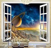 壁の背景装飾画 カスタム3Dスペースウィンドウビュー惑星壁絵画部屋風景壁紙壁リビングルームソファ背景壁紙-120X100Cm