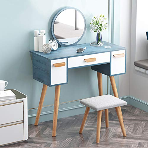 Check Out This Styling Table with Makeup Beauty Mirror, Vanity Table Set Modern with Upholstered Sto...