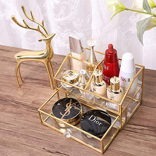 Glas Kosmetik Organizer , BelleLife Golden Makeup Organizer, Kosmetik Aufbewahrungsbox Display Makeup Fall für Palettenpinsel Fundamente Lippenstift Nagellack Haarnadeln, Waschtisch, Badezimmer