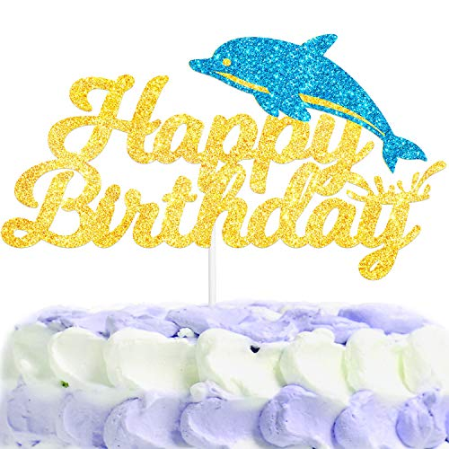 Dolphin Happy Birthday Cake Topper Gold Blue Glitter for Dolphin Marine Theme Boy Girl Child Birthday Party Decorations Supplies