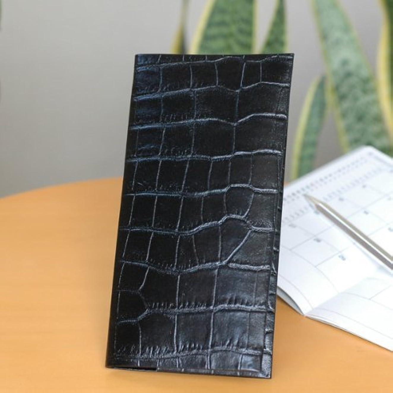 驚いたことにうまれた参加するおしゃれなスタイリッシュ手帳カバーB7変形 クロコ型 ブラック