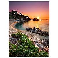 TRAIPAINK 5D ダイヤモンドペインティング ラウンドクリスタルラインストーン DIYツールキット 刺繍絵 アートクラフト ホームデコレーションギフト 11.8インチx15.7インチ Beach Sunrise 0125