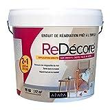 Enduit décoratif, rénovation rapide, 2 en 1, lisse et décore sur plâtre, peintures, crépis, fibres, toile de verre 15 Kg Blanc