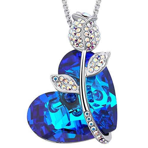 MEGA CREATIVE JEWELRY Damen Kette Blau Herz Rose mit Kristallen von Swarovski