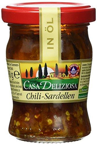 Casa Deliziosa Sardellenfilets in Sonnenblumenöl mit Chili Glas (1 x 90 g)