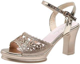 Zapatos de Sandalias Ligeros Casuales para Mujer de Las Señoras Hebilla Delgada Super Tacón Alto Playa de Verano Punta Abierta Tacones Ásperos Suela de Goma Chancletas con Sandalias de Pu para Mujer