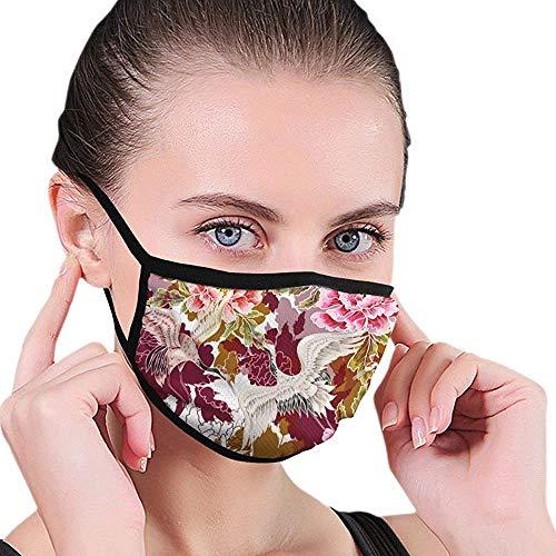 Máscaras Faciales Japonesas De Grúas Blancas con Diseño, Máscara Bucal De Poliéster Lavable con Correas Ajustables