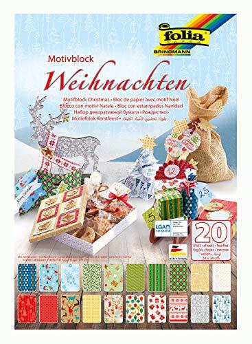 folia 47249 - Motivblock Weihnachten, 270 g/qm, ca. 24 x 34 cm, 20 Blatt sortiert in 20 verschiedenen Motiven - zum Basteln und kreativen Gestalten von Karten, Fensterbildern und für Scrapbooking