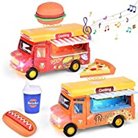 2-Pack Fun Little Toys Pull Back Cars Food Trucks with Music and Light