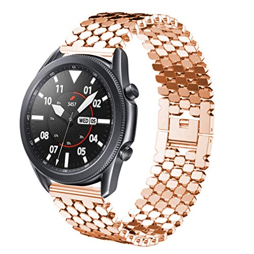 Correa compatible con Galaxy Watch de 46 mm/Galaxy Watch 3 de 45 mm, 22 mm, acero inoxidable a escala de peces de repuesto para Samsung Gear S3 Frontier/Classic/Huawei GT2 de 46 mm, Rosegold