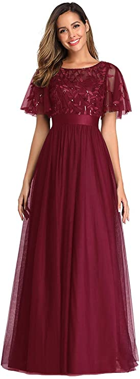 Vintage Evening Dresses, Vintage Formal Dresses Ever-Pretty Womens A-Line Empire Waist Embroidery Evening Prom Dress 0904  AT vintagedancer.com