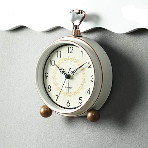 WZHZJ Retro Creativo silencioso Despertador Reloj de Alarma Dormitorio messita de Noche Reloj Simple pequeño Reloj de Escritorio decoración casera