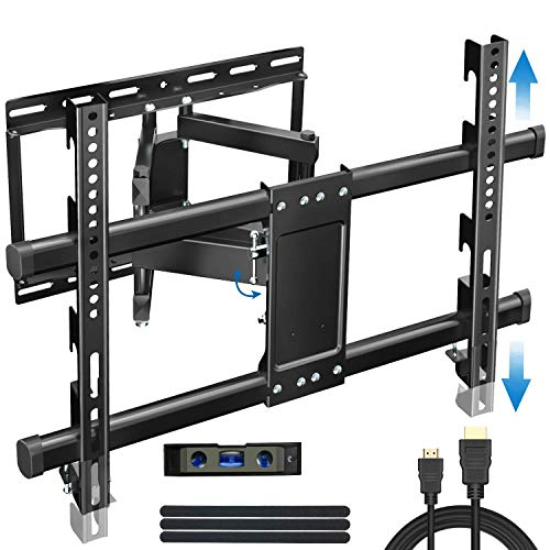 Everstone Heavy Duty TV Wall Mount for 32-70' TVs Dual Articulating Arm Tilt Swivel Full Motion Bracket Fit Most LED, LCD and Plasma Flat Screen TVs,Curved TV,Up to VESA 600X400mm,125 LBS,HDMI Cable