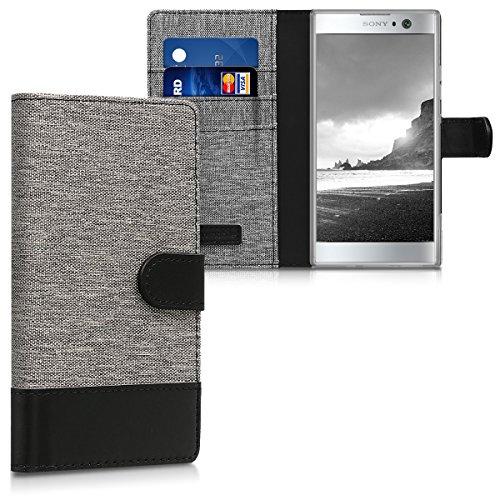 kwmobile Hülle kompatibel mit Sony Xperia XA2 - Kunstleder Wallet Hülle mit Kartenfächern Stand in Grau Schwarz