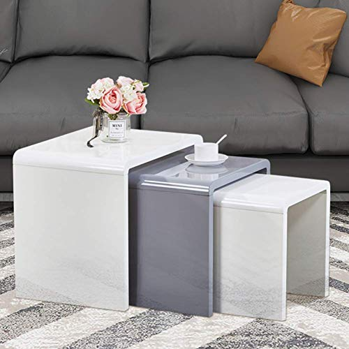 GOLDFAN Nest of 3 tables Morden High Gloss Coffee Table Set Living Room Bedside Tables,Multi-functional Side Table, White & Grey