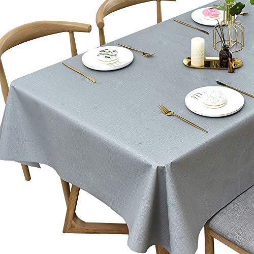 Plenmor PVC Tischdecke Rechteckig für Küche Esstisch Kunststoff Wischtuchreinigung Tischdecke für Indoor Outdoor (137 x 215 cm, Light Grey)