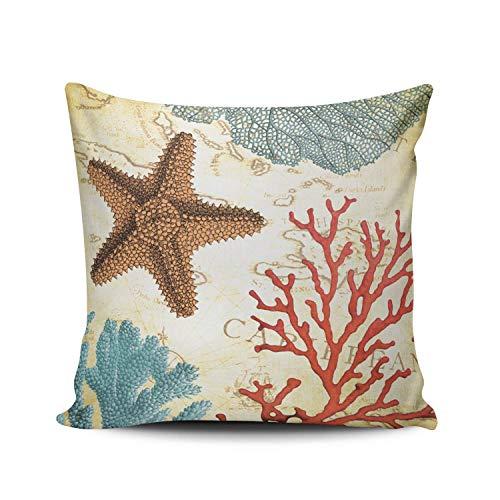 SUN DANCE Funda de cojín decorativa para dormitorio, diseño de estrella de mar del Caribe y coral con estampado de una cara de 50 x 60 cm