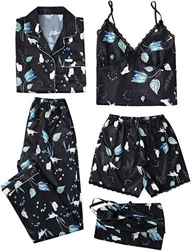 5PC Damen Nachtwäsche Set Satin Schlafanzug Seide Blumenmuster Pyjama Nachthemd Cami Shorts Hose Langarm Button-Down-Shirts S-XXL, M Schwarz
