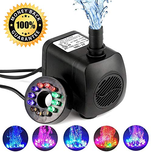 Submersible Water Pump, 15W 800L/H Fountain Pump with 12 Color LED Light for Fountain Pool Garden Pond Fish Tank Aquarium Water(With Plug)
