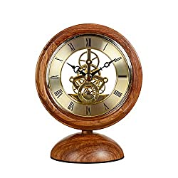 HU European Retro Clock Creative Desktop Ornaments Hedgehog Rosewood Solid Wood Decorative Clock Redwood Transparent Clock