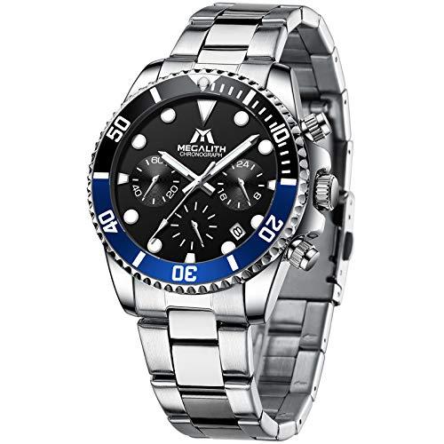 MEGALITH Uhr Herren Chronographen Edelstahl Armbanduhr Herren wasserdichte Designer Männer Uhren Quarz Datum Business Uhren für Mann