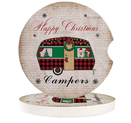 Car Coasters Absorbent Ceramic Stone for Cup Holder Set of 2, Christmas Buffalo Plaid Camper Car Auto Drink Coaster Car Accessories, Old Kraft Paper