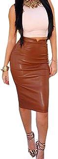 iYYVV Women PU Leather Skirt High Waist Slim Party Pencil Bodycon Hip Skirt