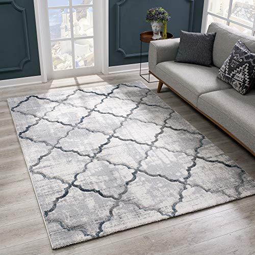 SANAT Alfombra de salón de diseño moderno, pelo corto, para salón, dormitorio, cocina, corte de contorno hecho a mano, certificado Öko-Tex 100, gris, tamaño: 80 x 150 cm