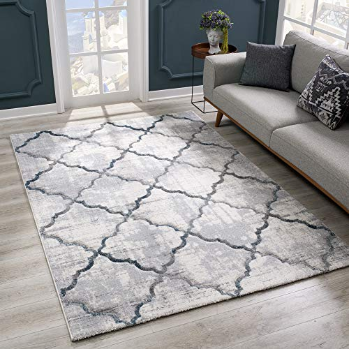 SANAT Wohnzimmer Teppich Modern Design - Kurzflor Tepiche für Wohnzimmer, Schlafzimmer, Küche - Handgearbeiteter Konturenschnitt, Öko-Tex 100 Zertifiziert, Grau, Größe: 80x150 cm