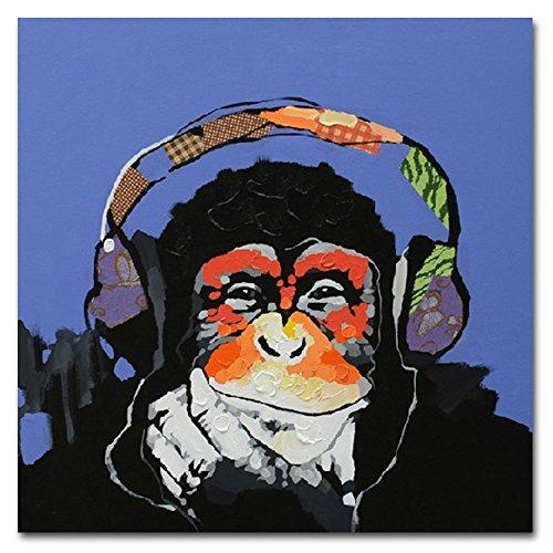 Fokenzary - Cuadro 100% pintado a mano, pintura al óleo sobre lienzo, Gorila escuchando música con auriculares, con marco listo para colgar, lona, 16x16in